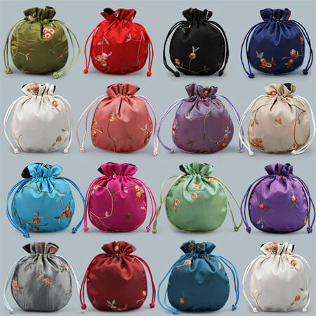 Custom embroidery satin bag with drawstring 5