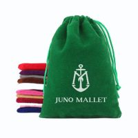 Drawstring velvet pouch with Logo 1