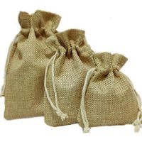 Natural linen favor bags small size 2