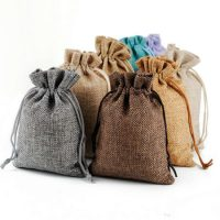 Natural linen favor bags small size 5
