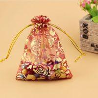 printed flower organza drawstring bag 1