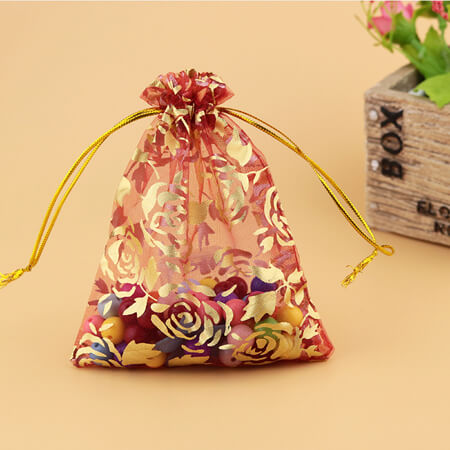 printed flower organza drawstring bag 1