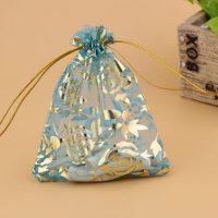 printed flower organza drawstring bag 2