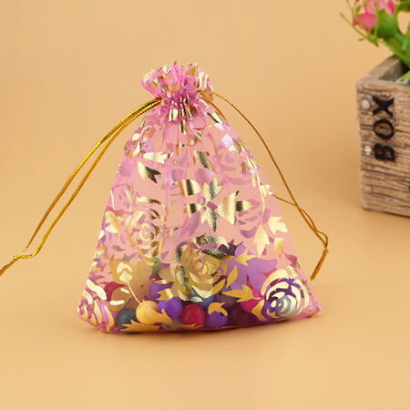 printed flower organza drawstring bag 3