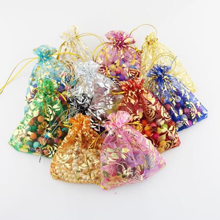 printed flower organza drawstring bag