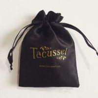 Black satin packaging bag with custom logo 1