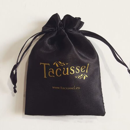 Black satin packaging bag with custom logo 1