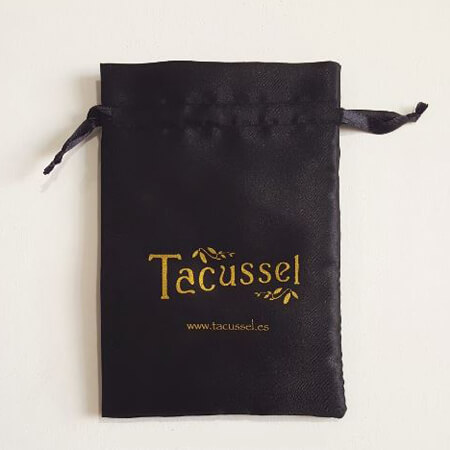 Black satin packaging bag with custom logo 2