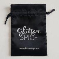 Black satin packaging bag with custom logo 4