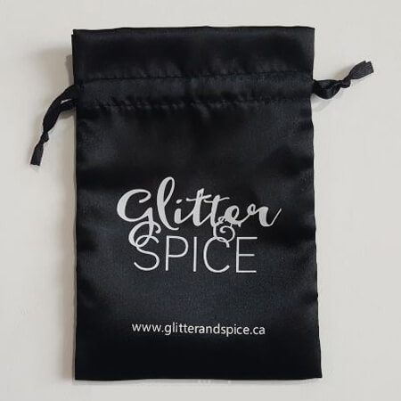 Black satin packaging bag with custom logo 4