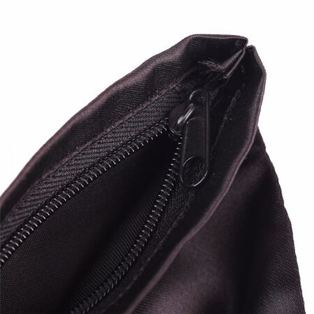 Black satin toiletry pouch with zipper 3