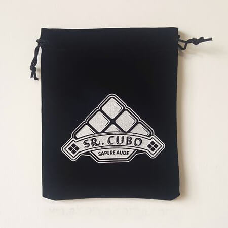 Black velvet bag with printed Logo 1