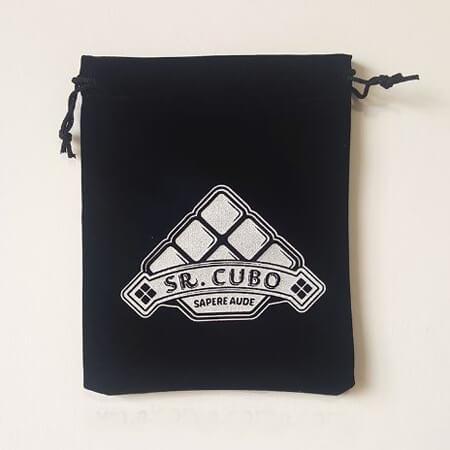 Black velvet bag with printed Logo 1