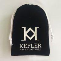 Black velvet bag with printed Logo 2