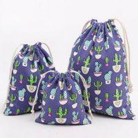 Cotton linen drawstring bag custom size 1