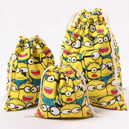 Cotton linen drawstring bag custom size 2