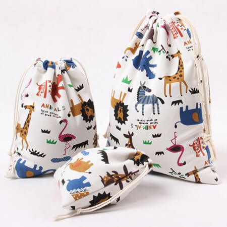 Cotton linen drawstring bag custom size 4