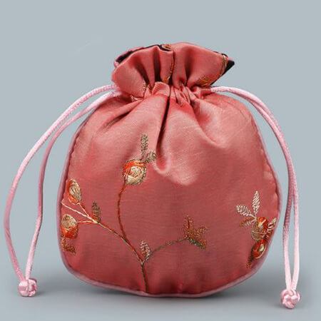Custom embroidery satin bag with drawstring 2
