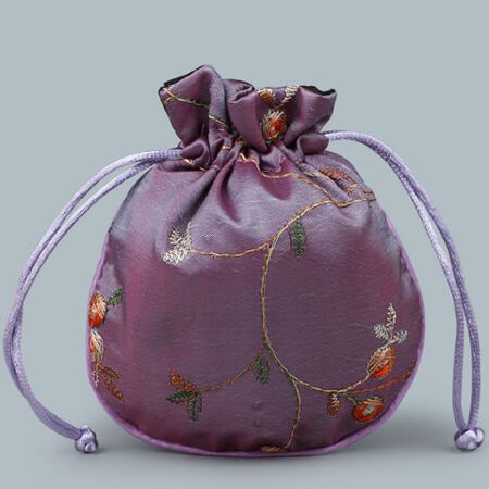 Custom embroidery satin bag with drawstring 3