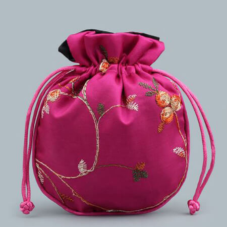 Custom embroidery satin bag with drawstring 4