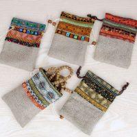 Custom linen drawstring pouch 1