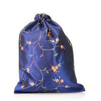 Embroidery silk satin drawstring bag 1