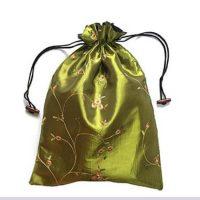 Embroidery silk satin drawstring bag 4
