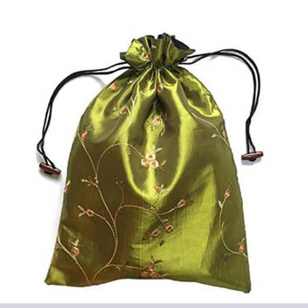 Embroidery silk satin drawstring bag 4