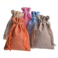 Natural linen drawstring gift bags 1