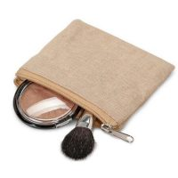 Plain linen fashion travel cosmetic bag 1