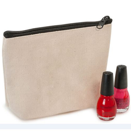 Plain linen fashion travel cosmetic bag 2