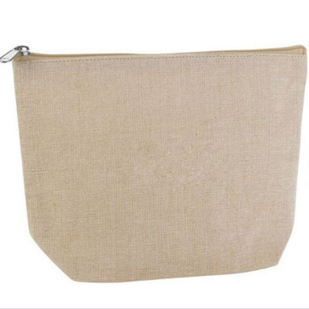 Plain linen fashion travel cosmetic bag 4