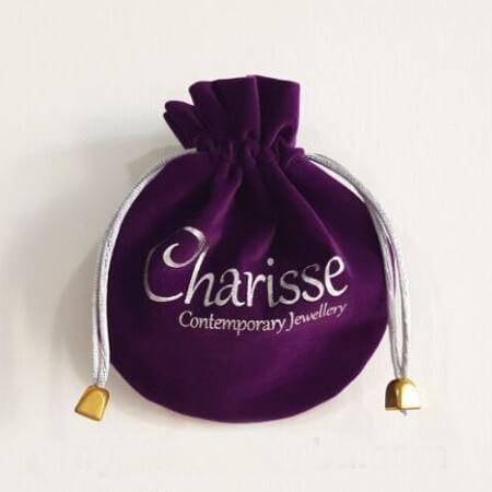 Printed violet velvet pouch 1