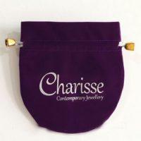 Printed violet velvet pouch 2