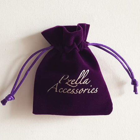 Printed violet velvet pouch 3