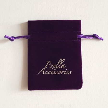 Printed violet velvet pouch 4