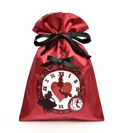 Screen printed red satin drawstring bag 1