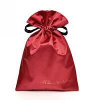 Screen printed red satin drawstring bag 2