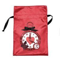 Screen printed red satin drawstring bag 4