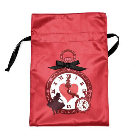 Screen printed red satin drawstring bag 4