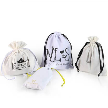 White cotton gift bags with printed logo 1