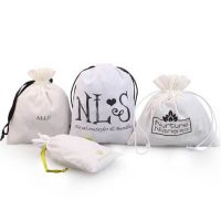 White cotton gift bags with printed logo 3