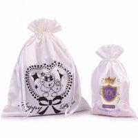 White satin draw string bag 1