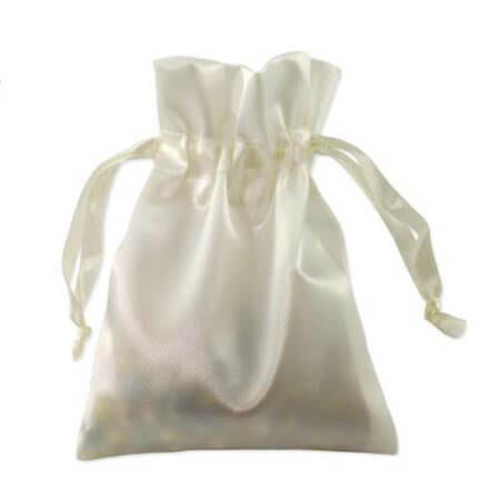 White satin draw string bag 2