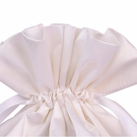 White satin draw string bag 3