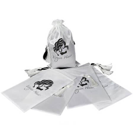 White satin draw string bag 4