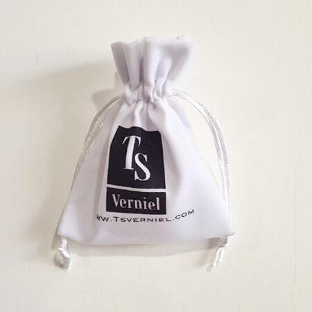 White velvet jewelry pouch custom logo 1