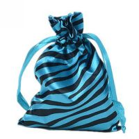 Zebra-stripe satin silk bag with ribbon drawstring 1