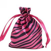 Zebra-stripe satin silk bag with ribbon drawstring 2