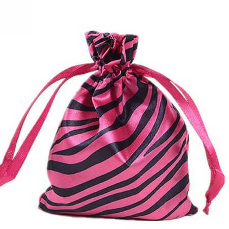 Zebra-stripe satin silk bag with ribbon drawstring 2